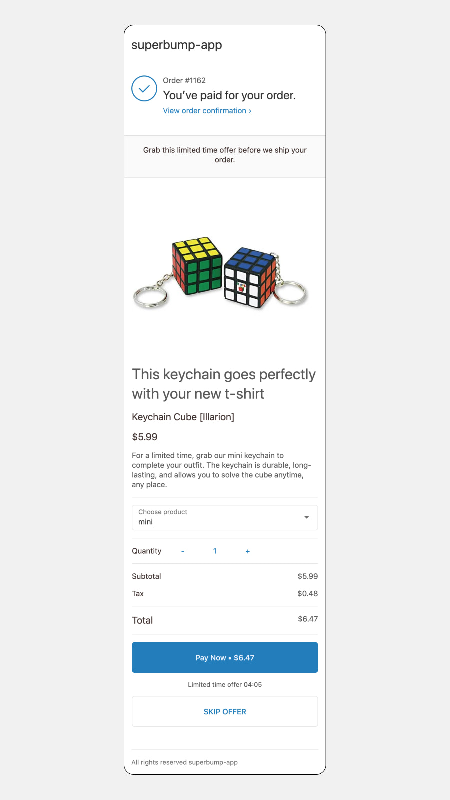 Mobile post-purchase offer