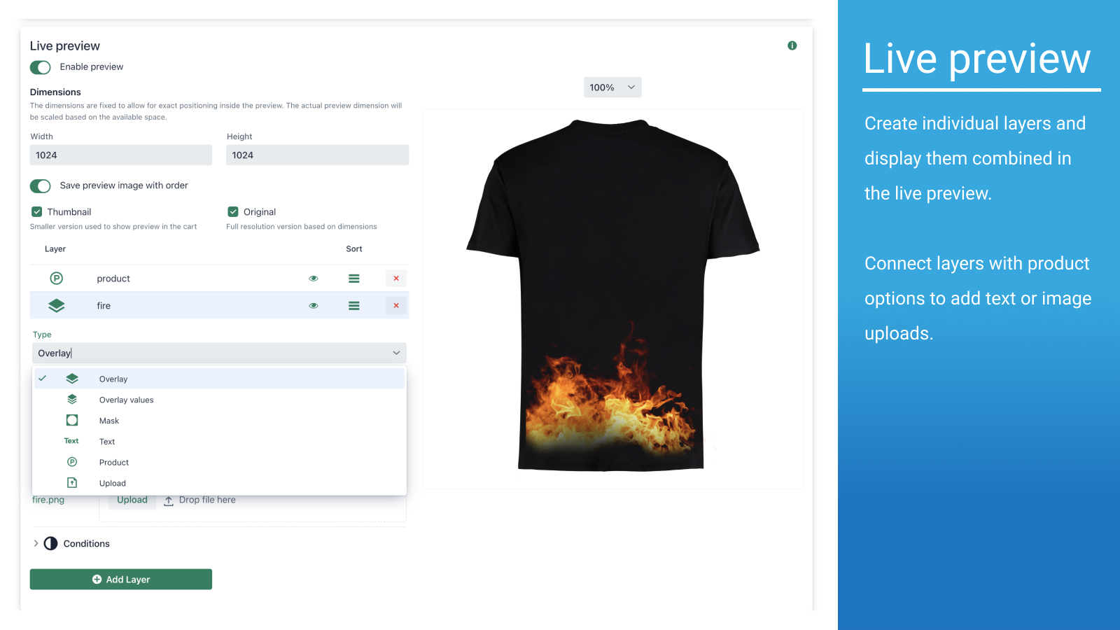 Create individual layers and display them combined in the previe