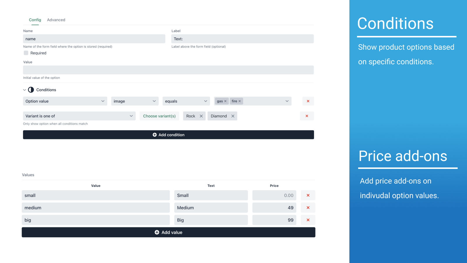 Show product options based on specific conditions.