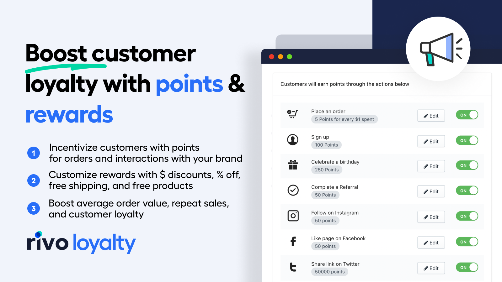 Reward loyalty customers with points and rewards