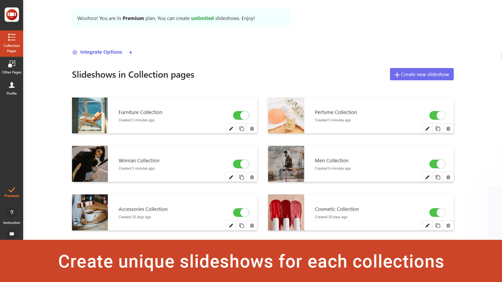 slideshow image slider banners for each collection
