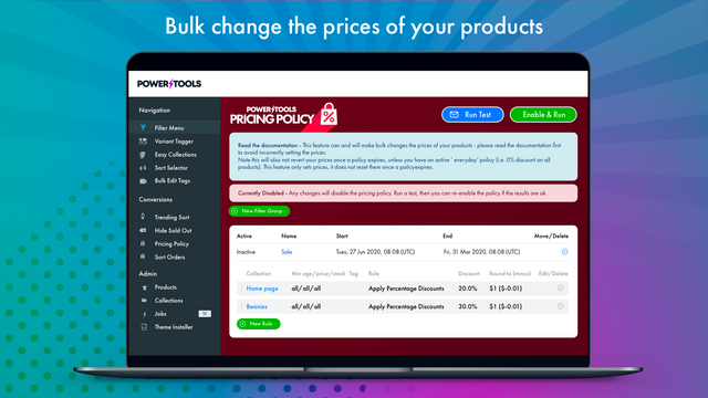 Set prices using the Pricing Policy