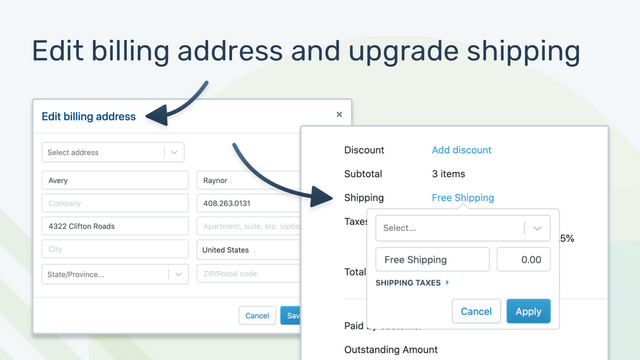 Change billing address and upgrade shipping