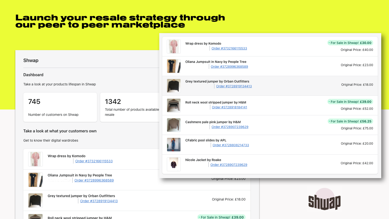 Launch your resale strategy through our peer to peer marketplace