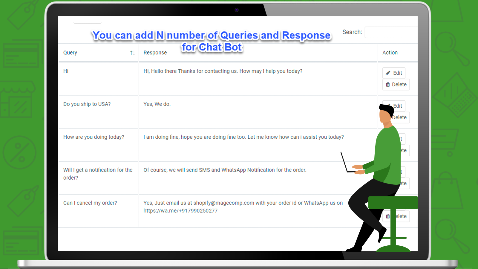 WhatsApp ChatBot Queries and Responses