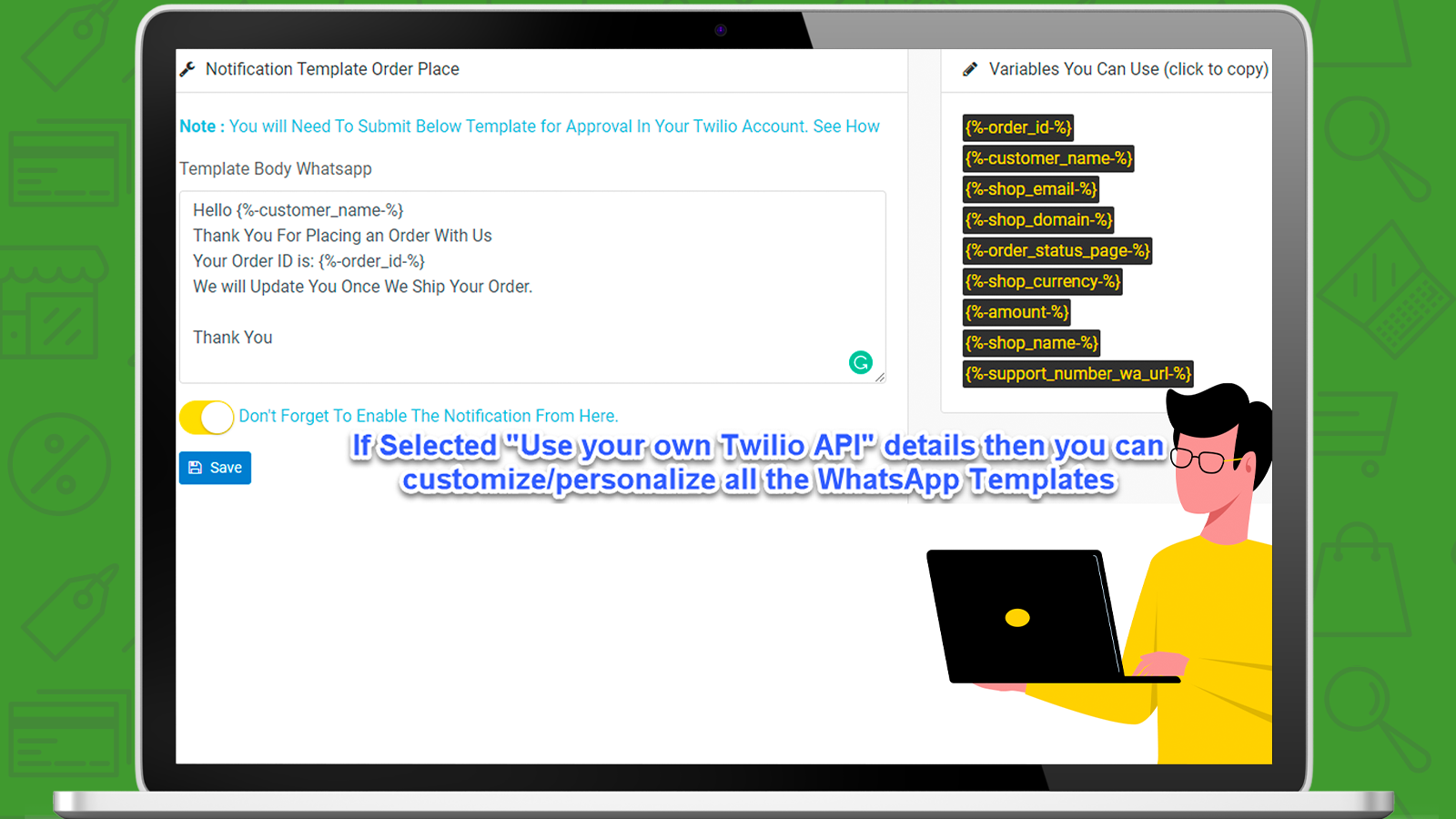 Customize / Personalize The WhatsApp Templates