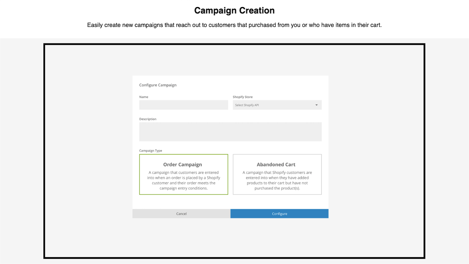 Configuring a campaign to be triggered by a Shopify purchase