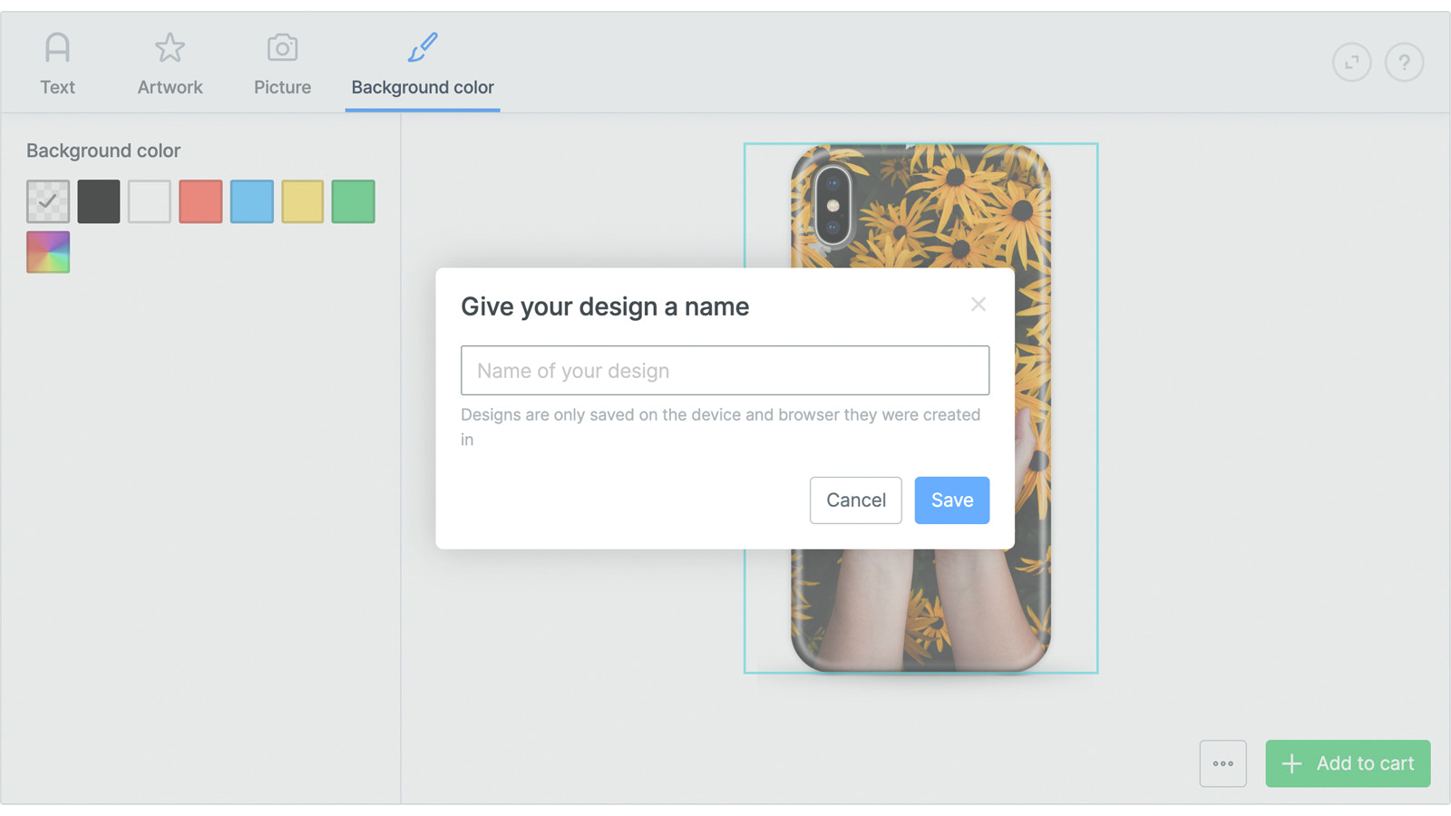 Let customers save their design for later