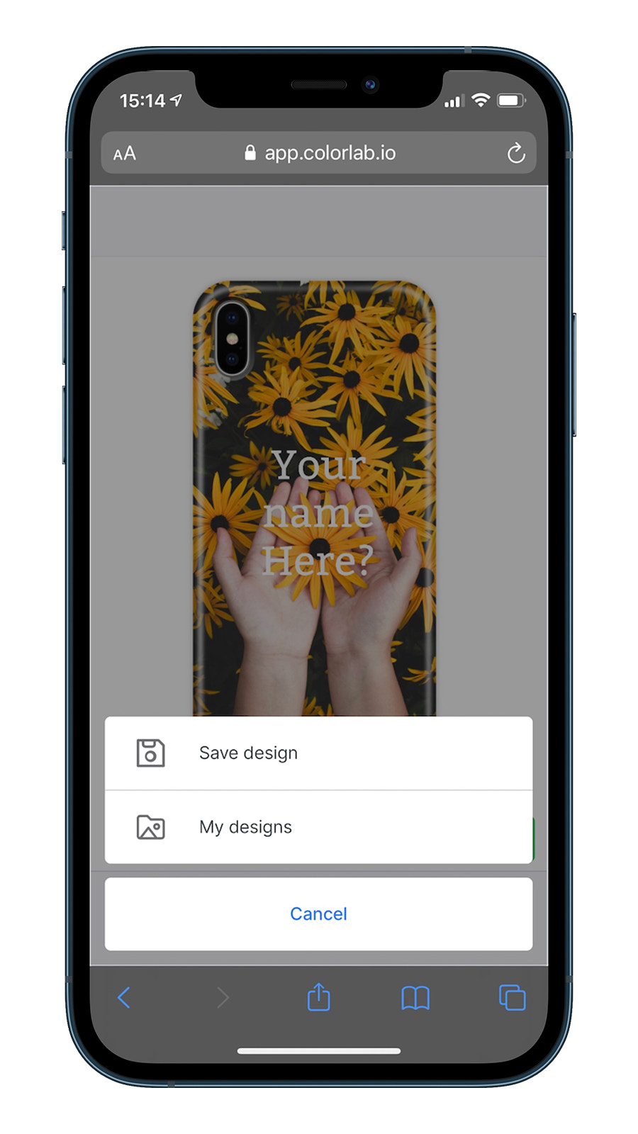 Save your design on a mobile device