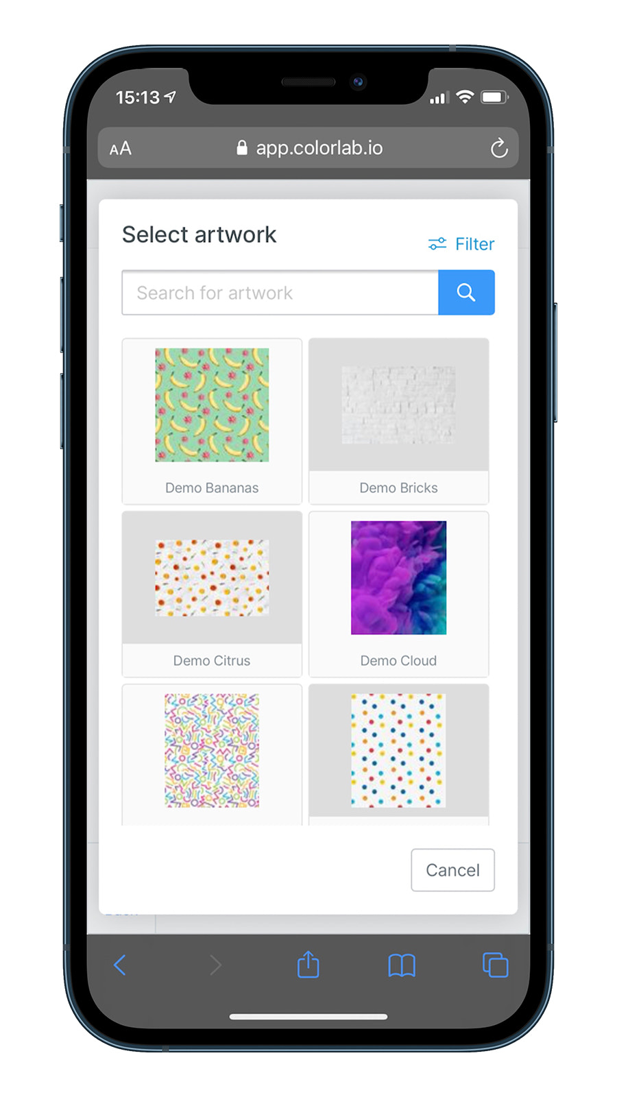 Select artwork on a mobile device