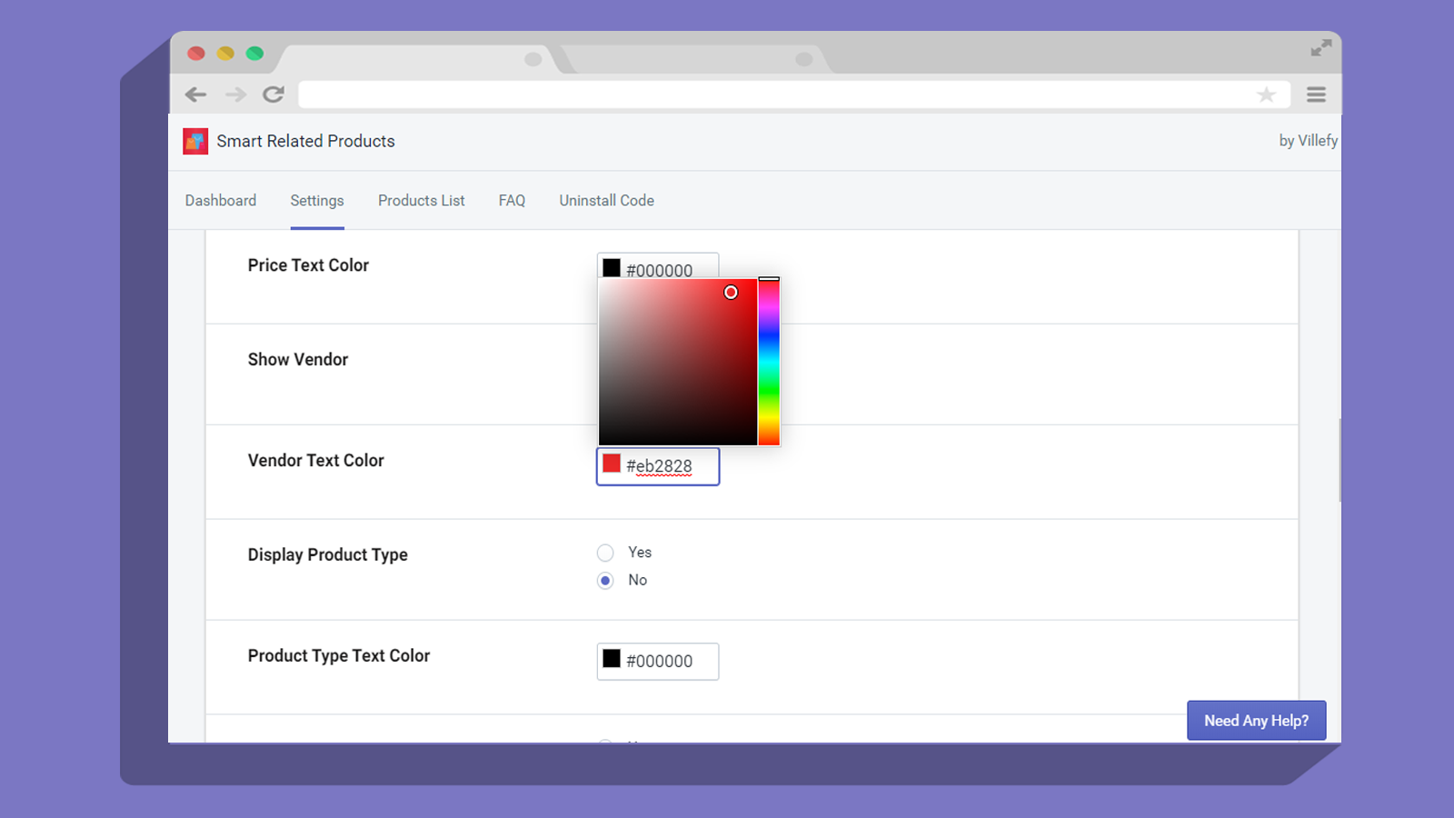 Related product color settings