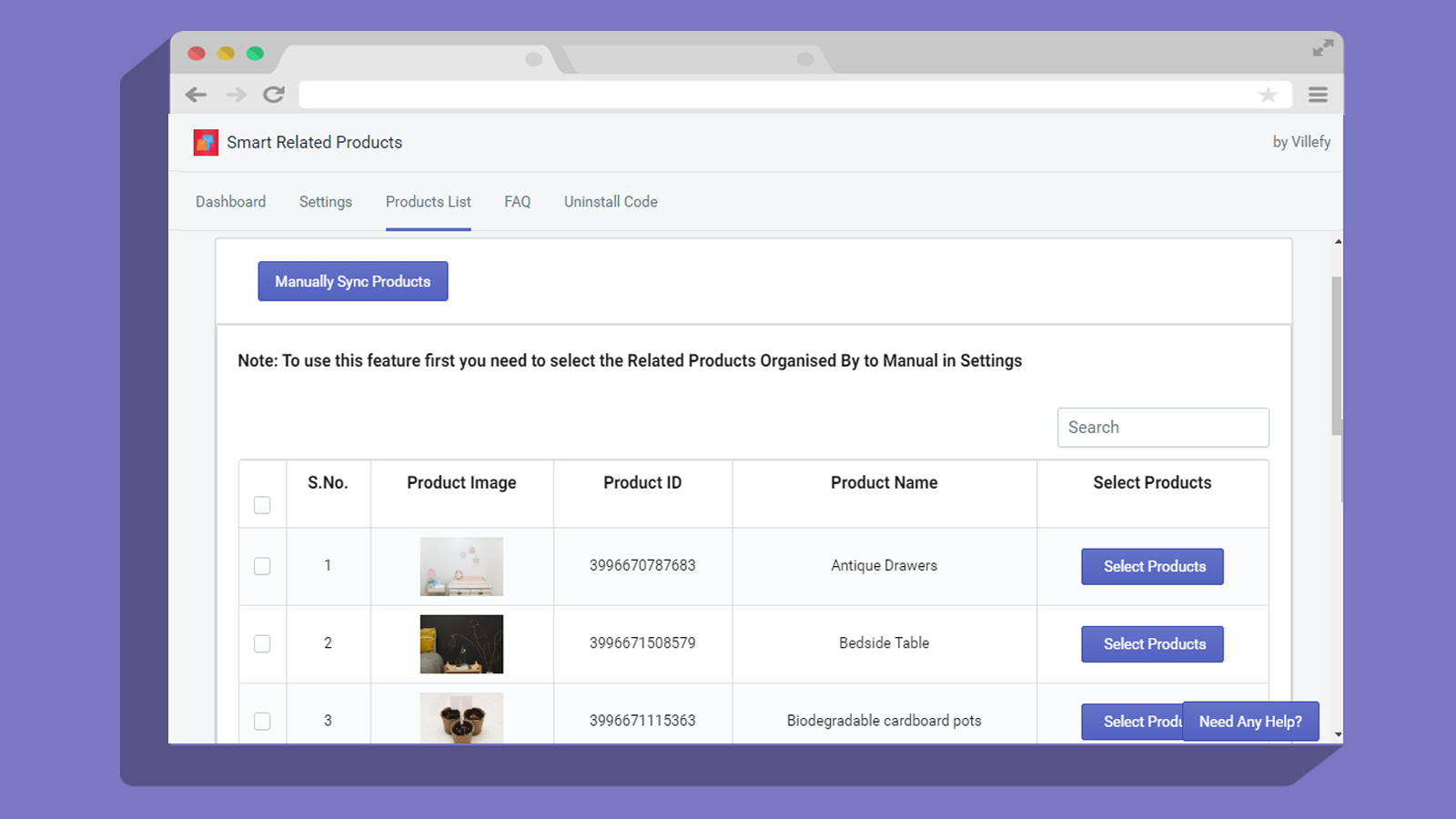Related product product list