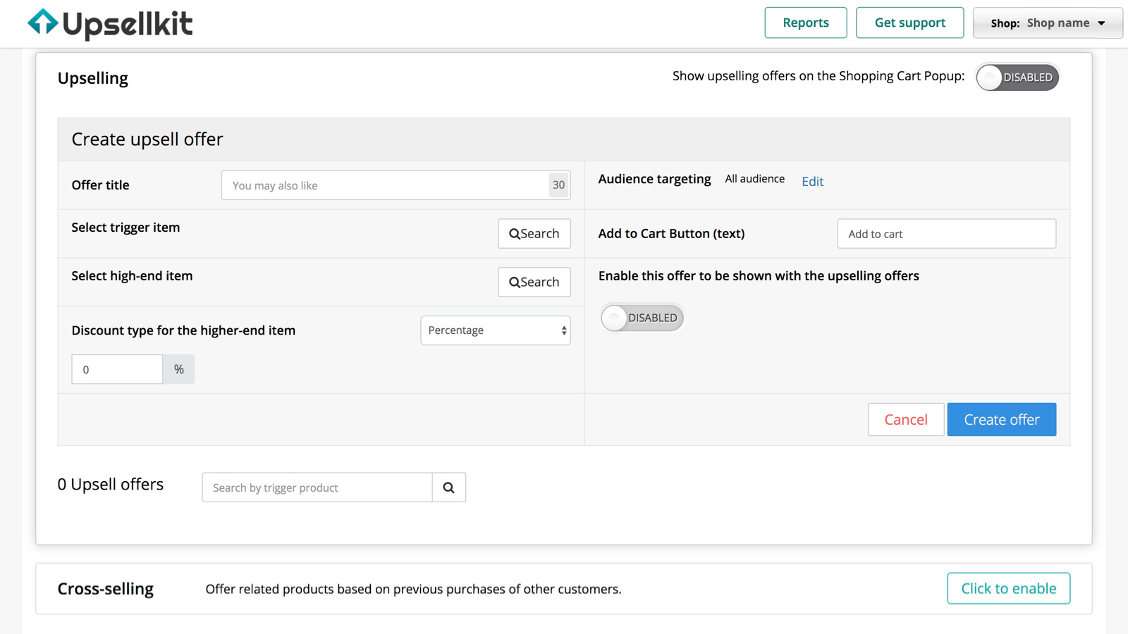 Pre-built workflow to create upselling offers