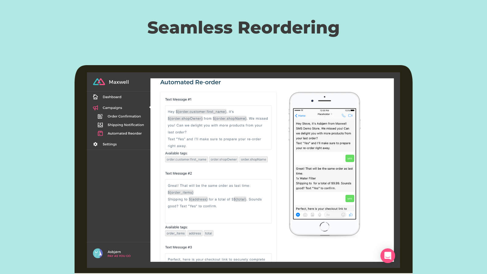 Increase sales through automated SMS reordering
