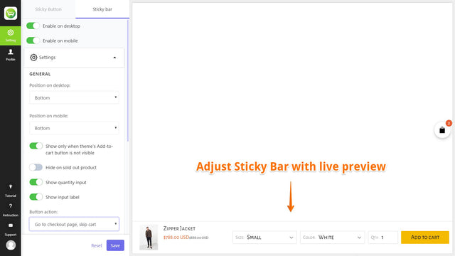 edit sticky add to cart bar with live preview