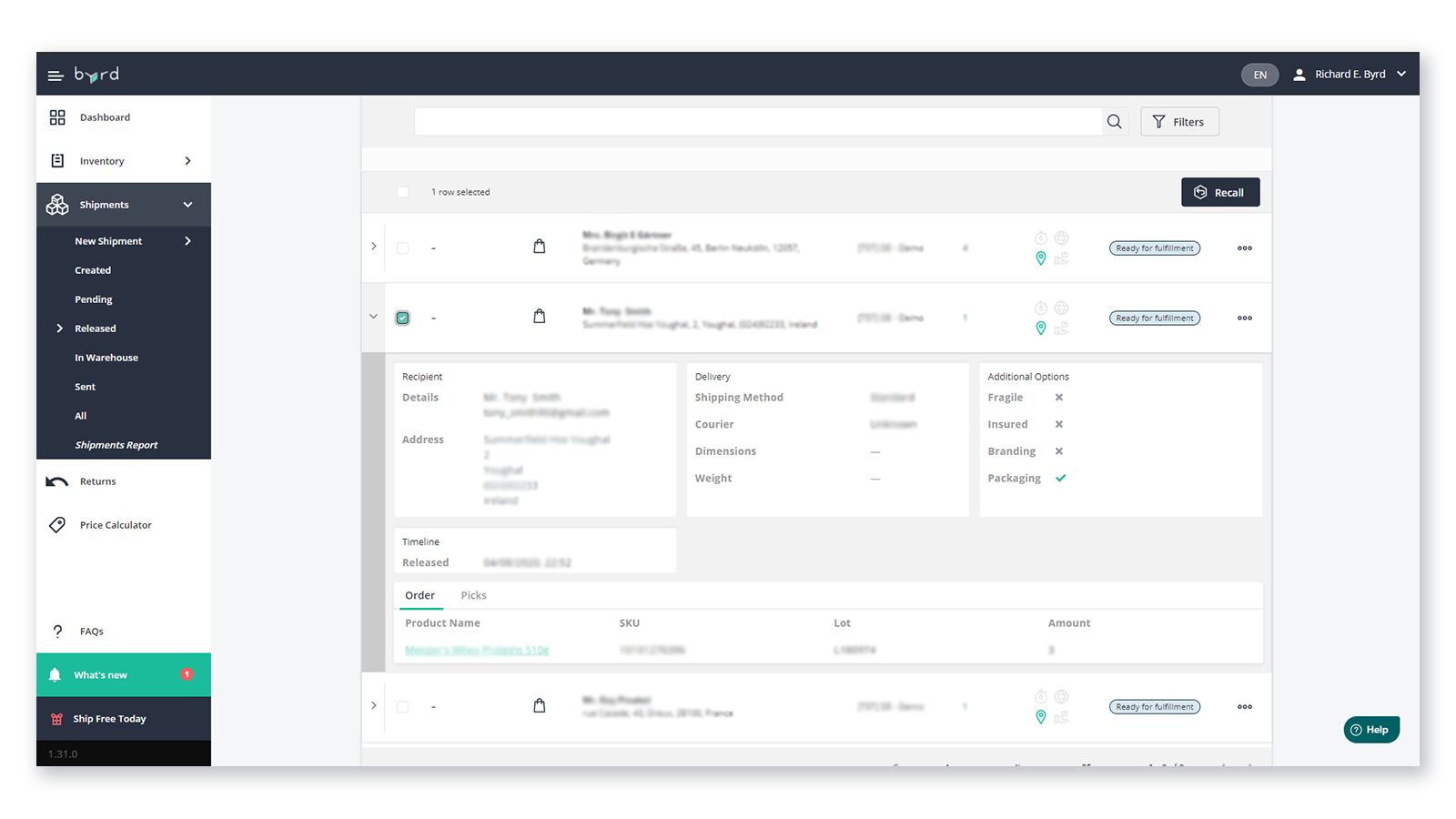 Shipment tab - manage all the steps of your fulfillment process