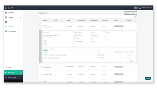 Returns tab- oversee returns and optimize your reverse logistics