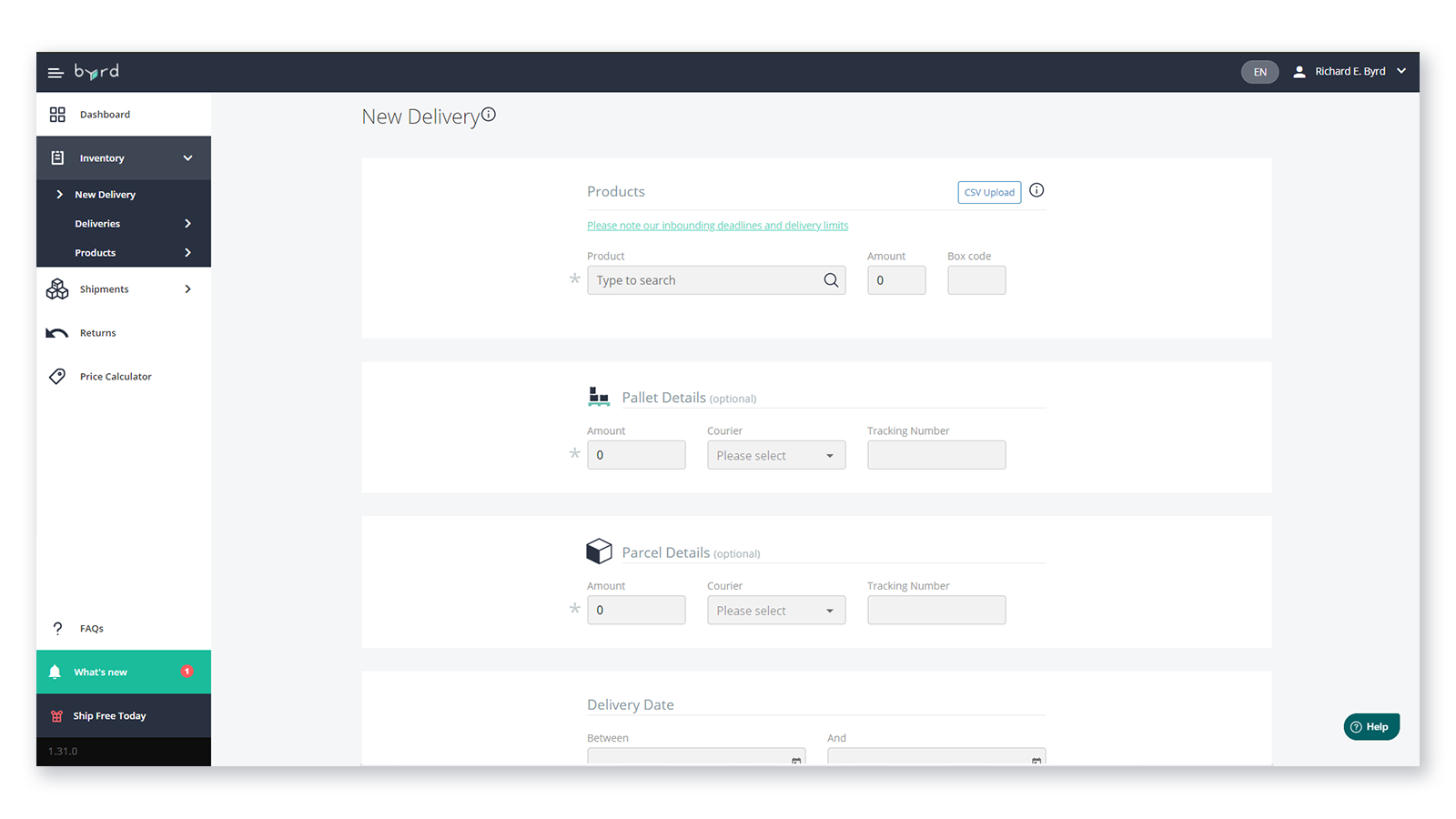 New delivery tab – create a new delivery and manage shipments
