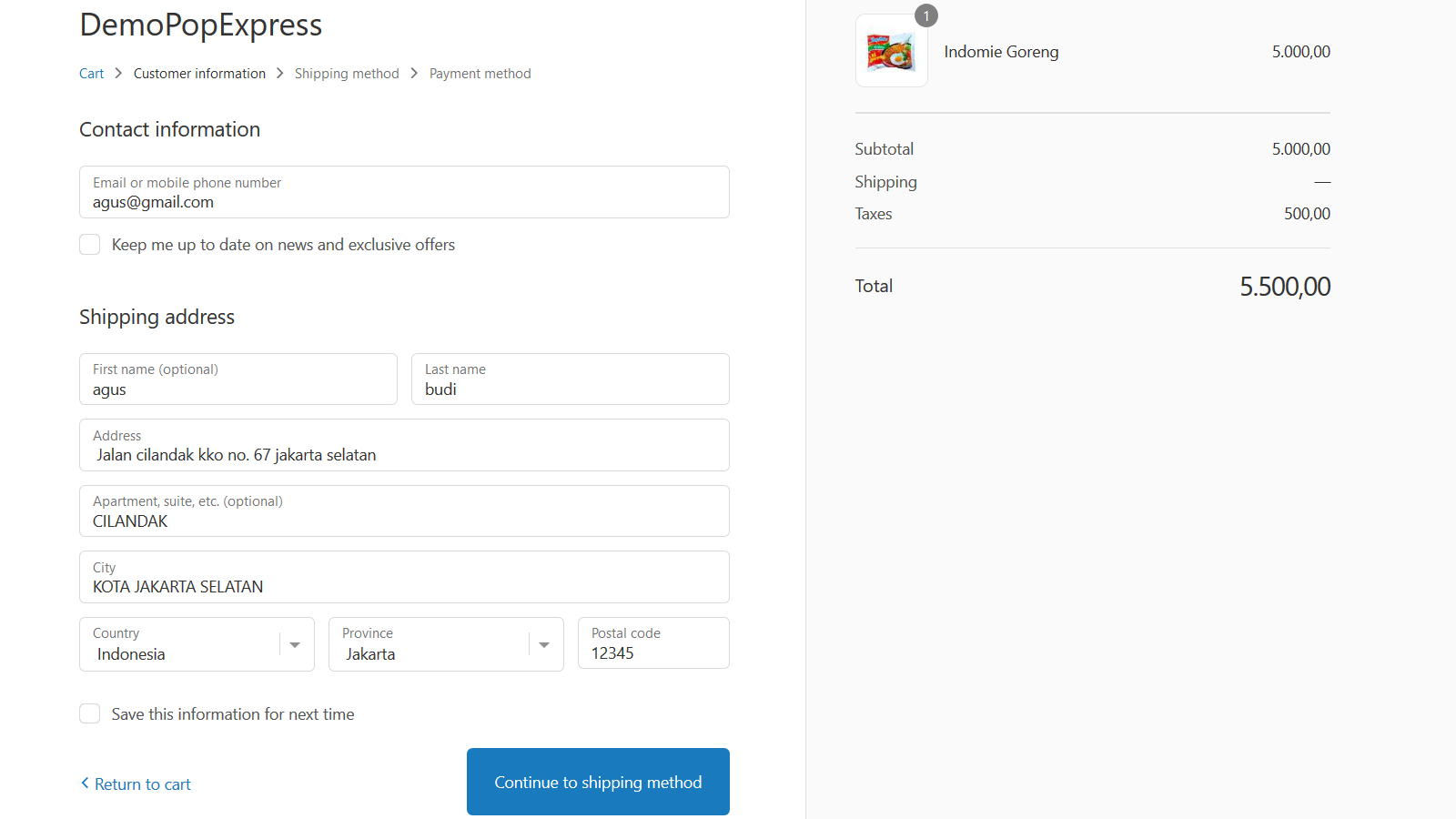 Selected address automatic field out in shipping address form