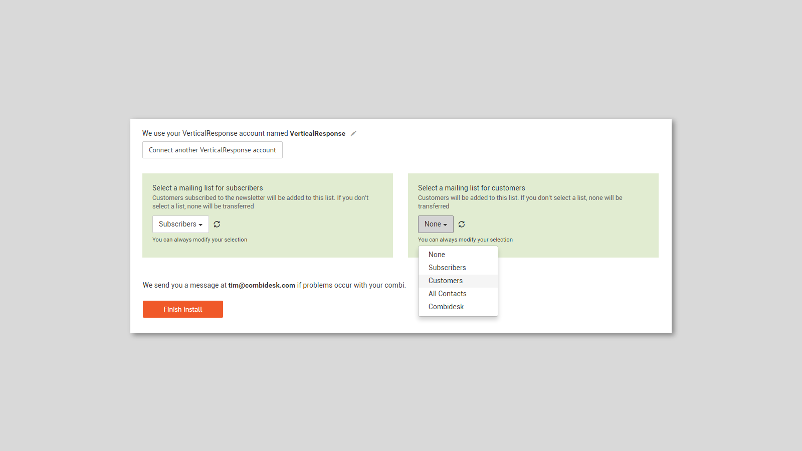 Shopify verticalresponse integration - select your mailing list