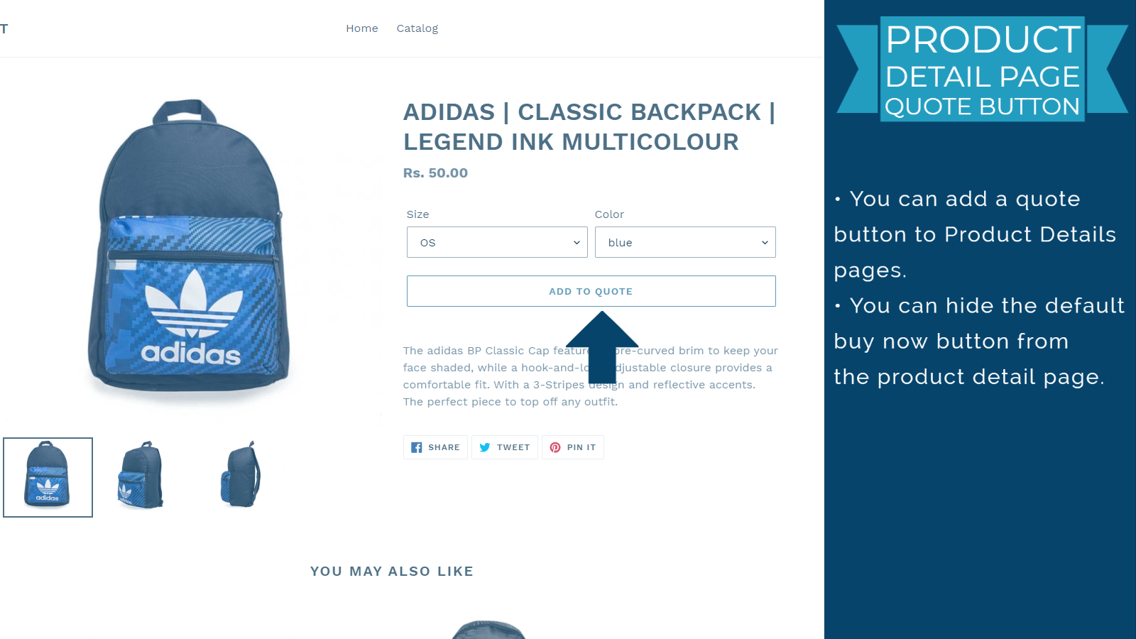Add to Quote button in Product Detail page.