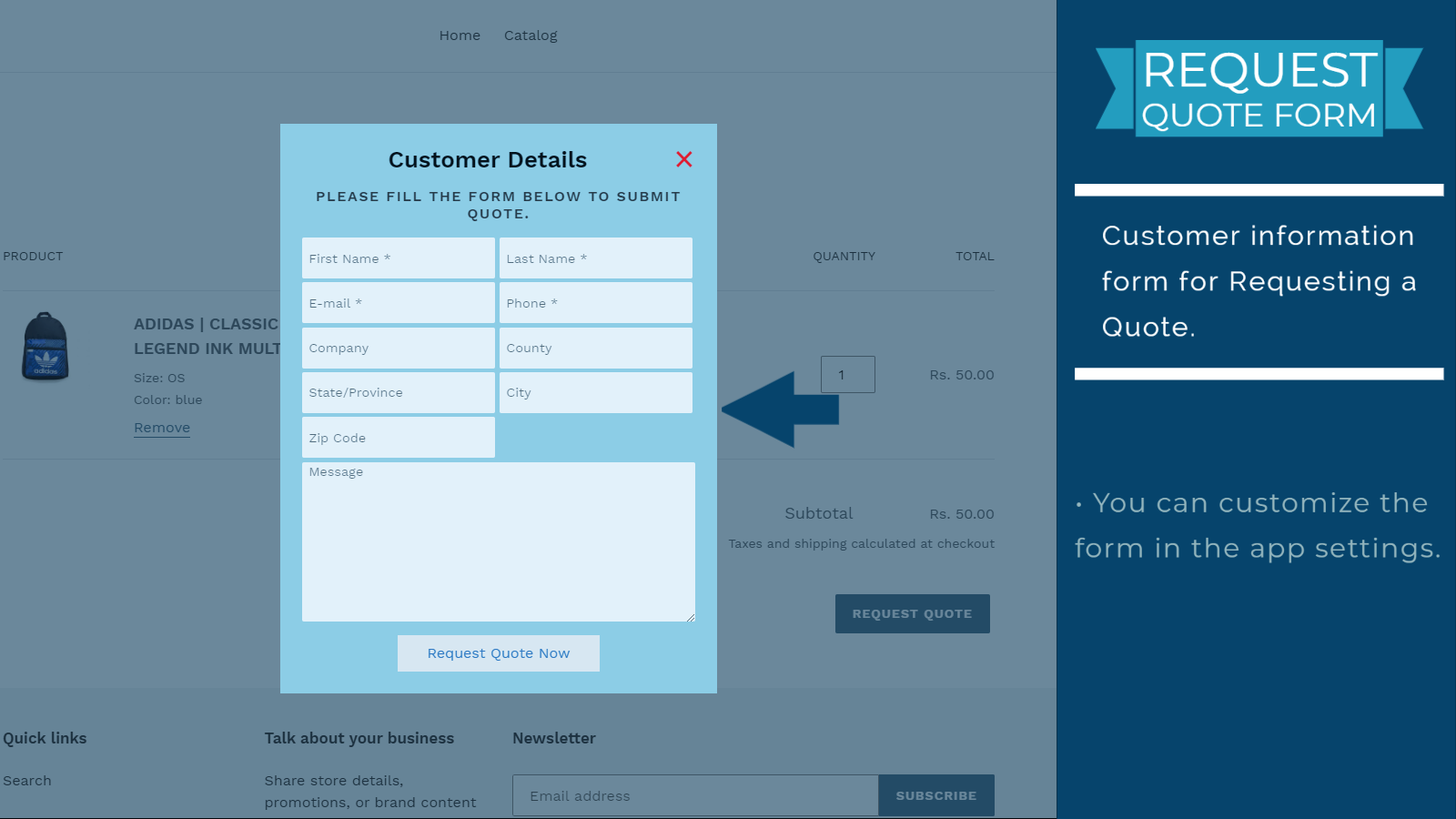 Request Quote form for customer.