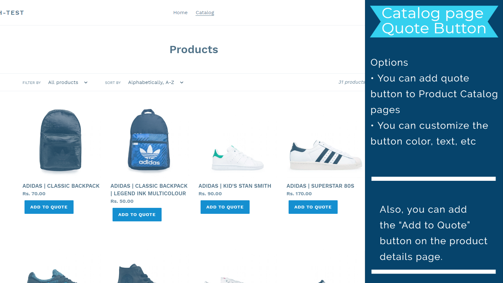 Add to quote button in Product Catalog page