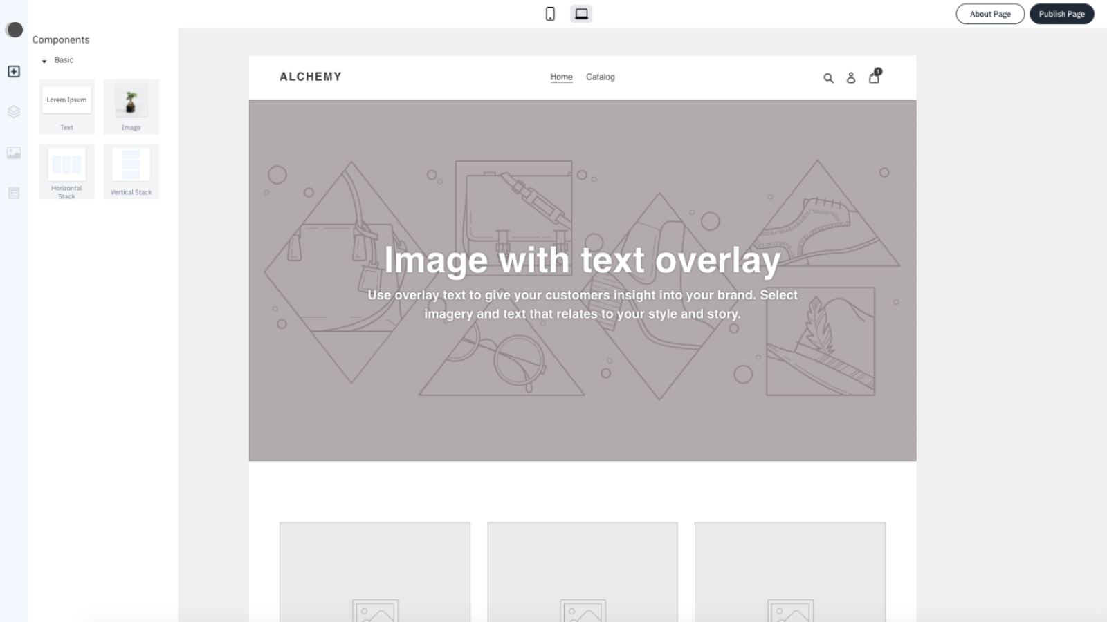Visual editor lets you build your storefront without code