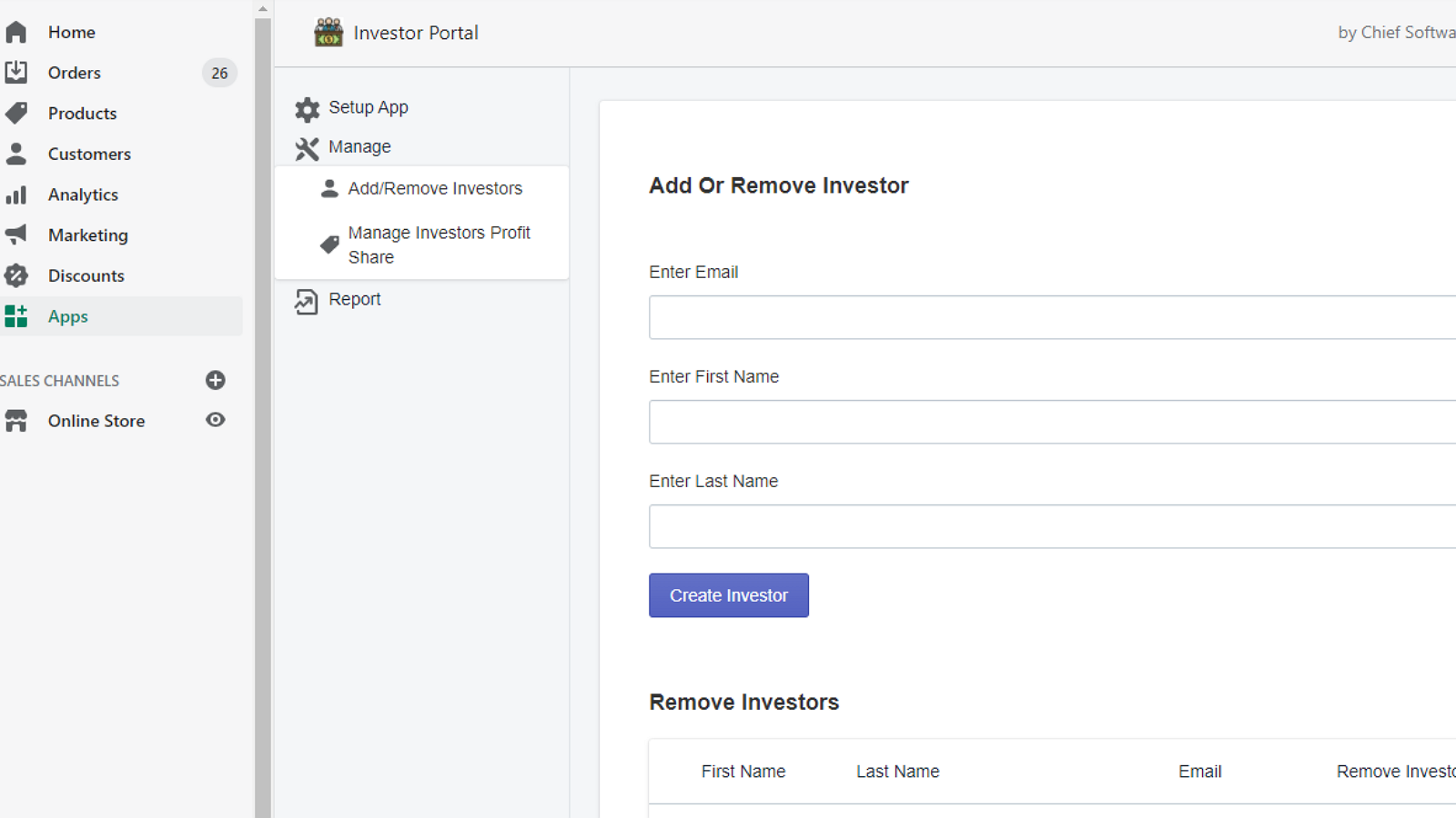 Add Investors to your store from the admin side