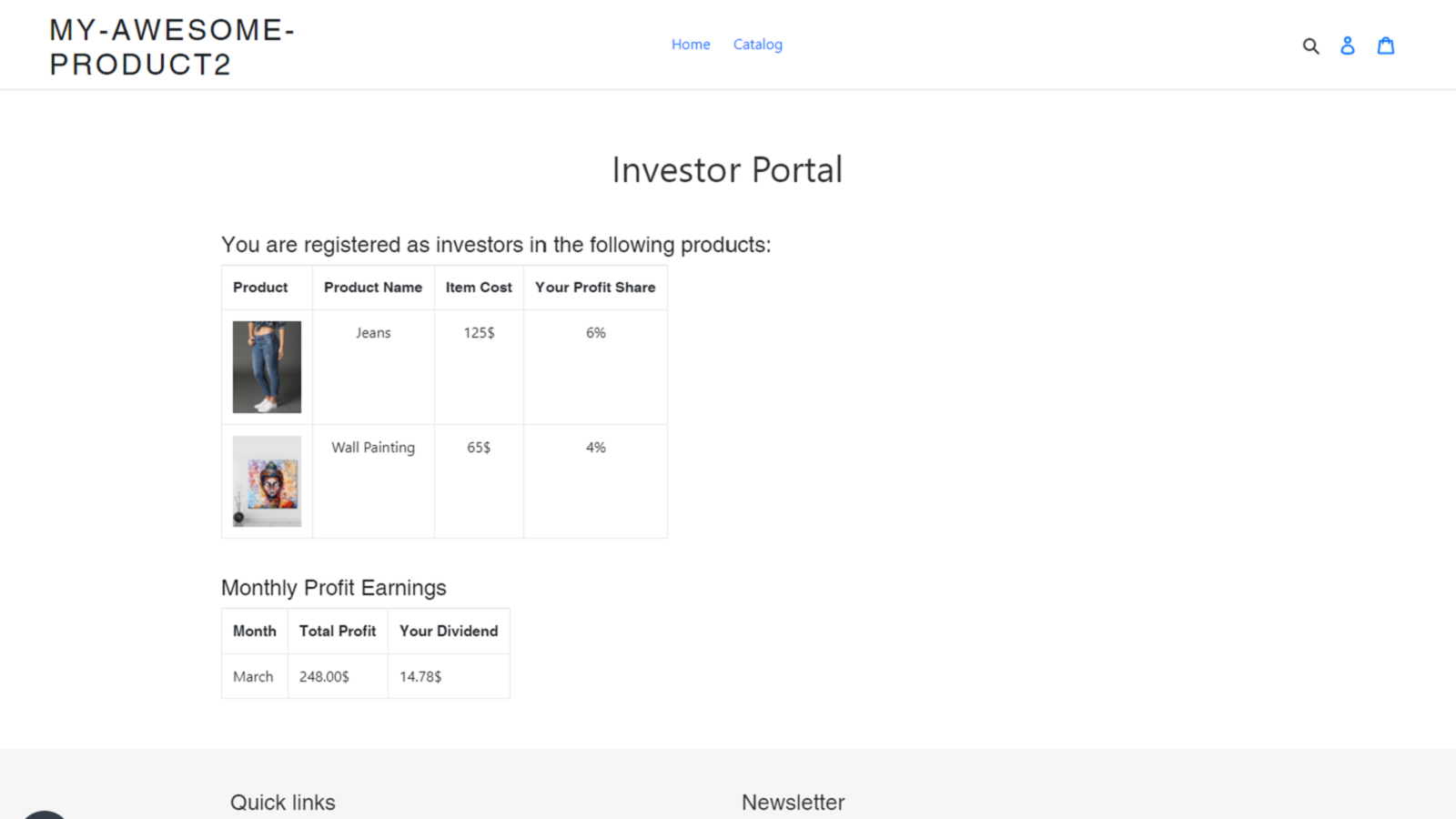Investor portal on the front end of your store
