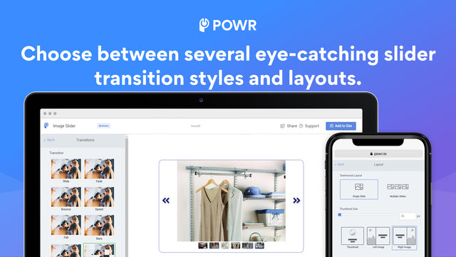 Choose between several eye-catching transitions and layouts.