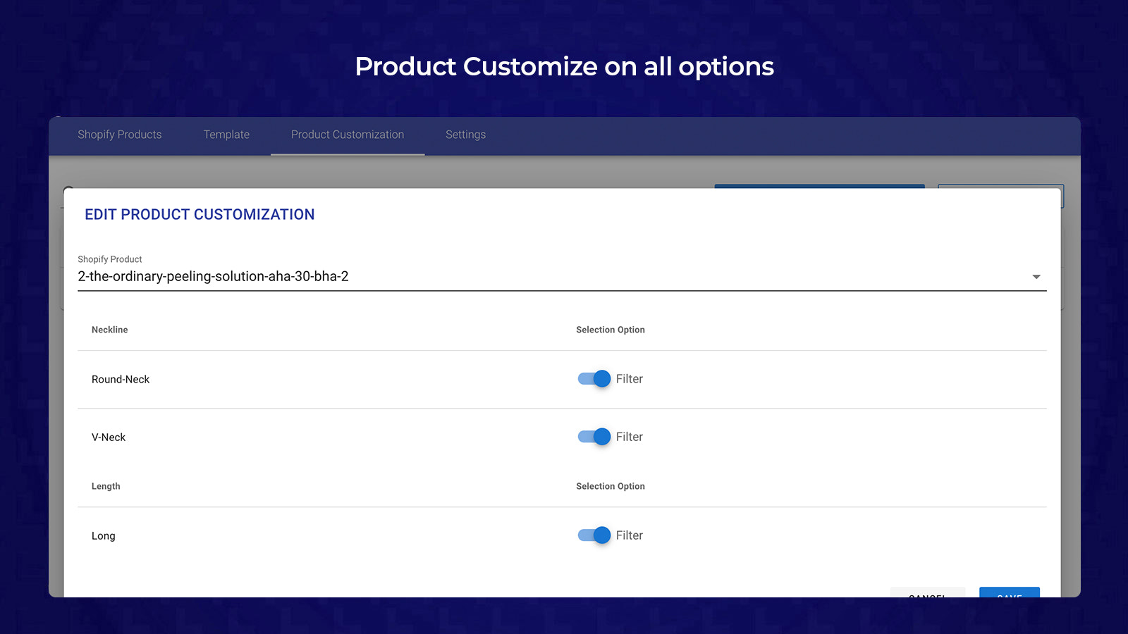 6- Product Customize on all options
