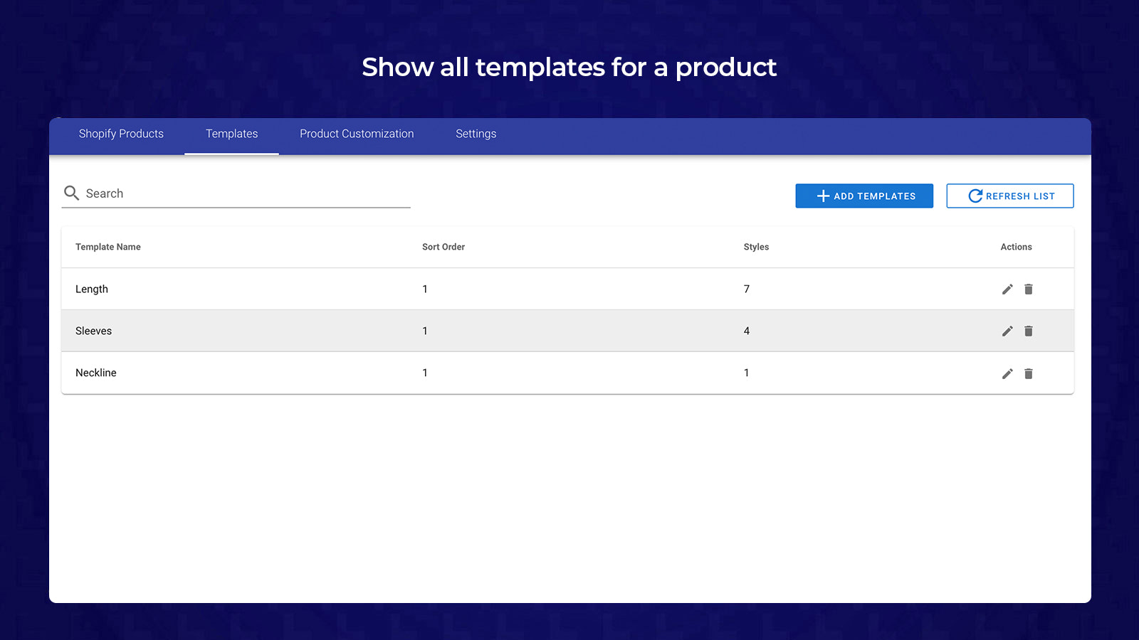 3- Show all templates for a product