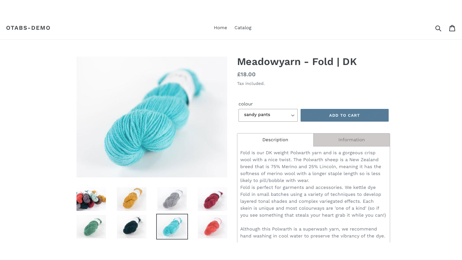 tabs in action on the product page