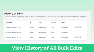 View your entire history of bulk edits that you have made