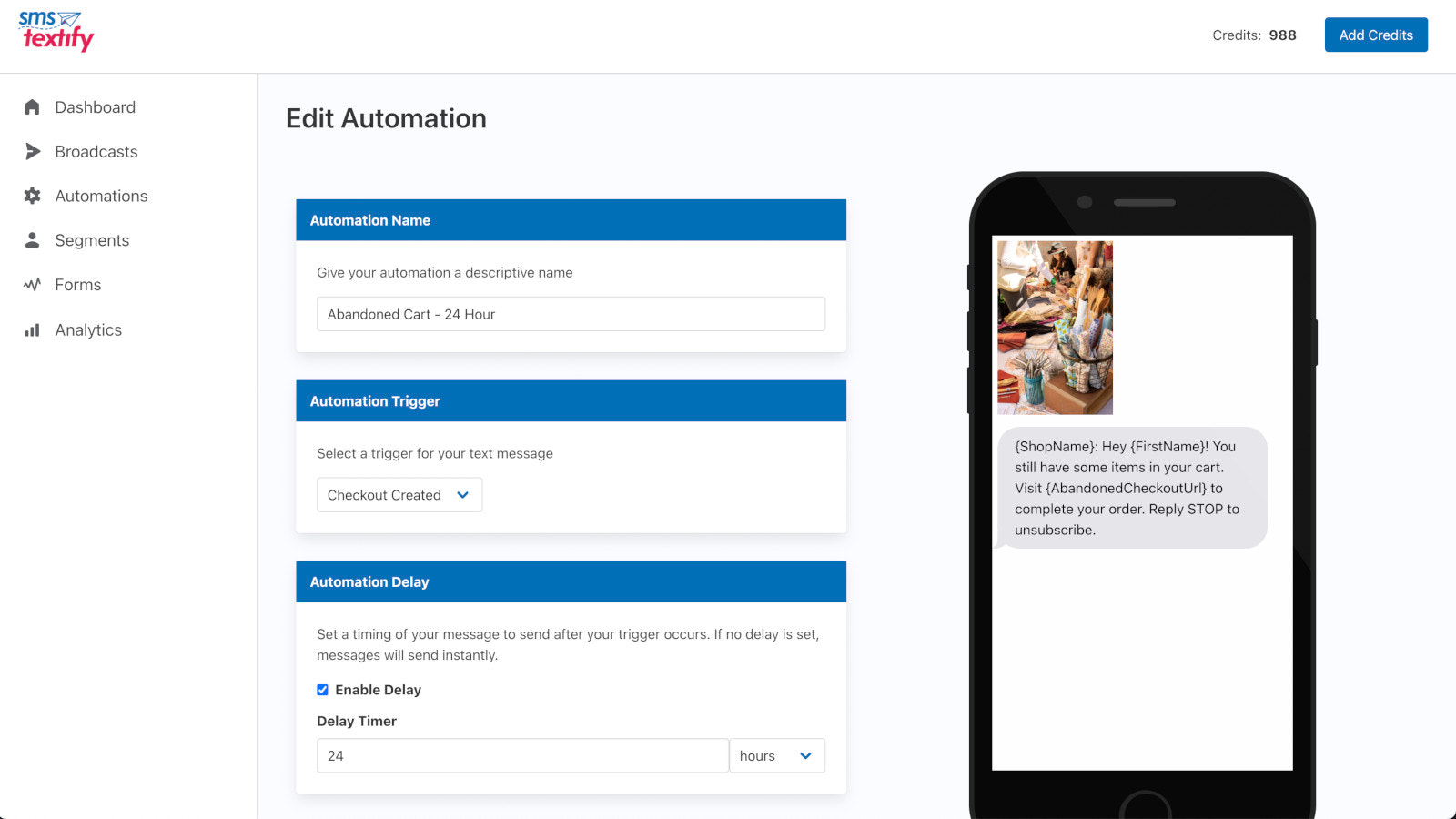 SMS Textify Automation Screenshot
