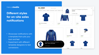 Different styles  for on-site sales notifications