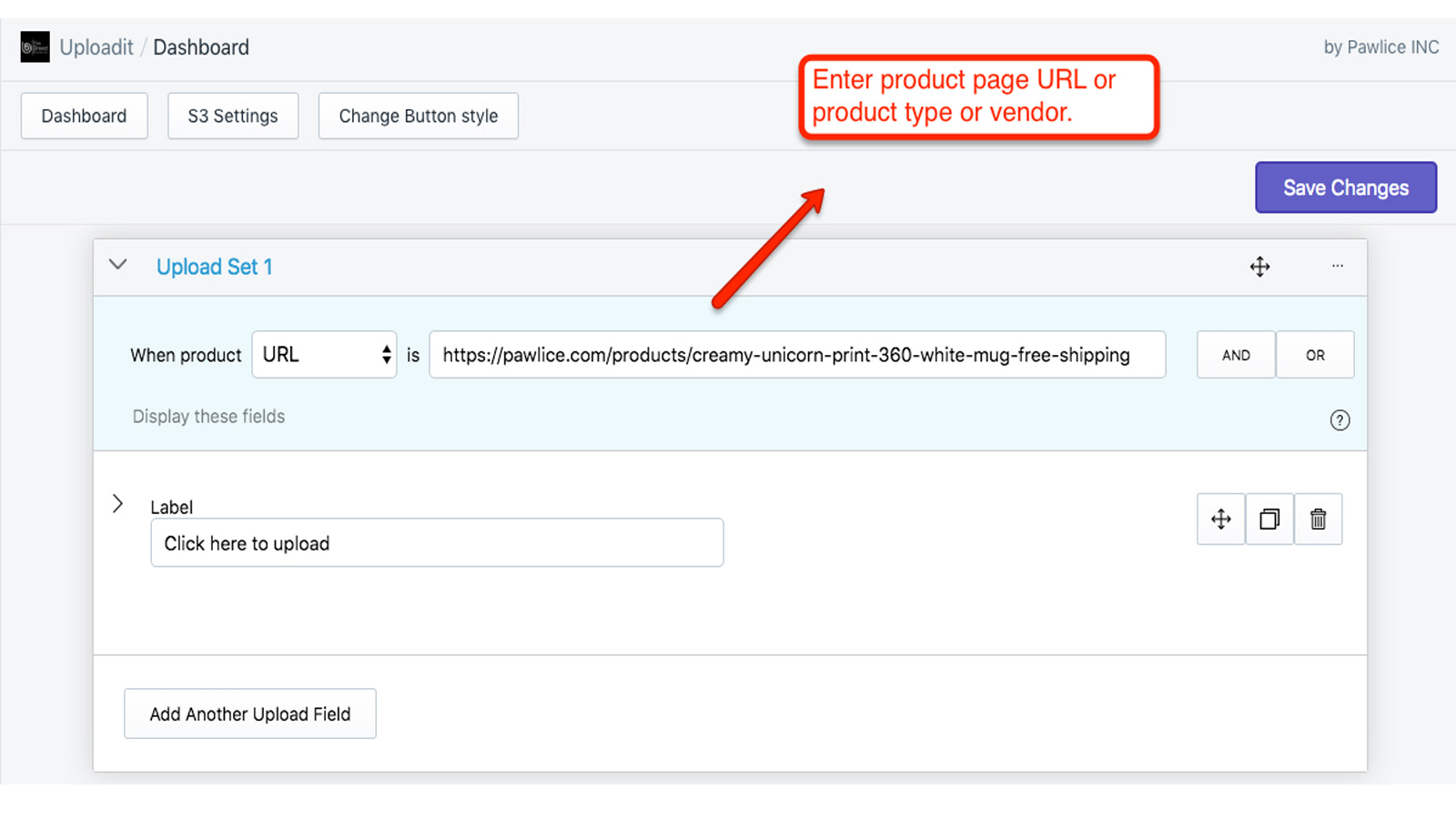 Enter product page URL to show upload button