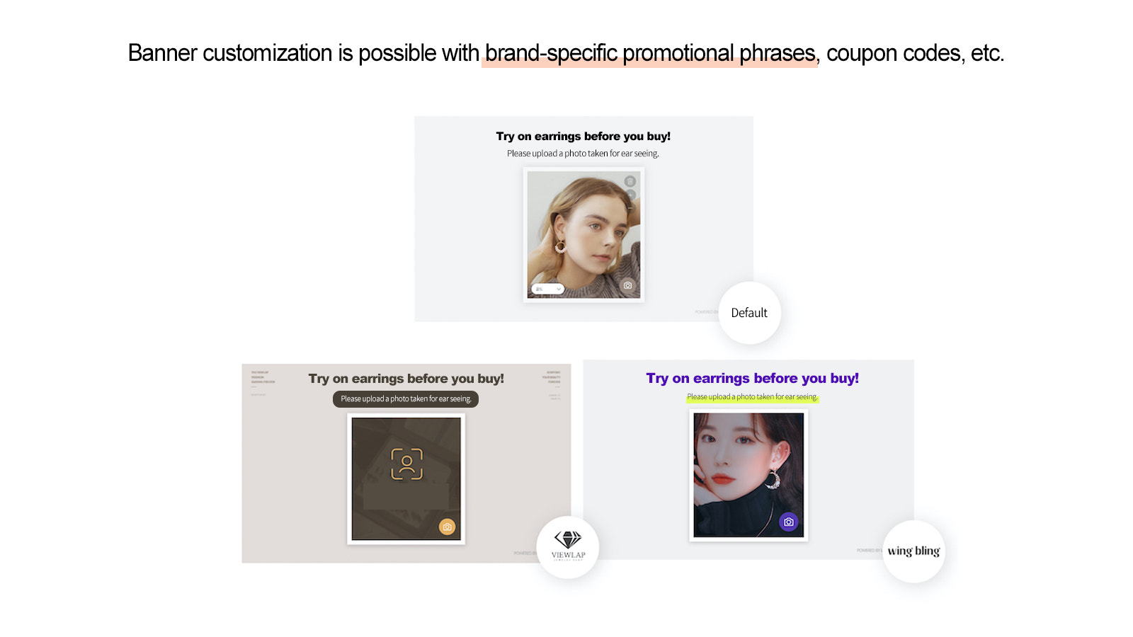 Banner customization is possible with coupon codes, etc.