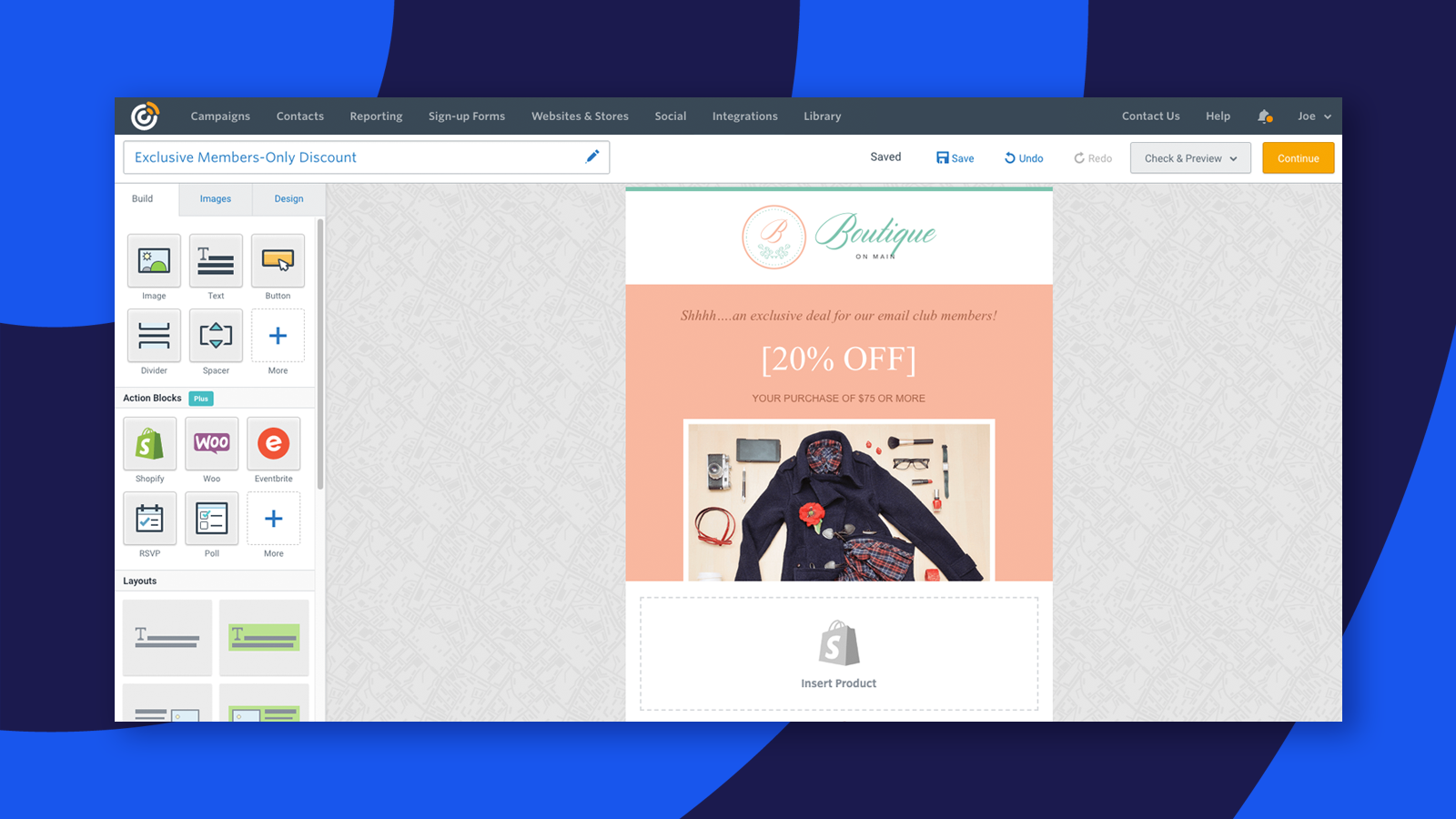 Add Shopify products to your Constant Contact emails