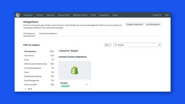Integrate your Shopify account with Constant Contact