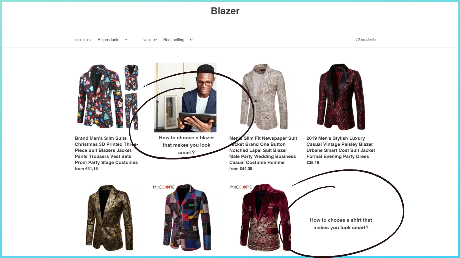Blog articles in collection with an image - example 1