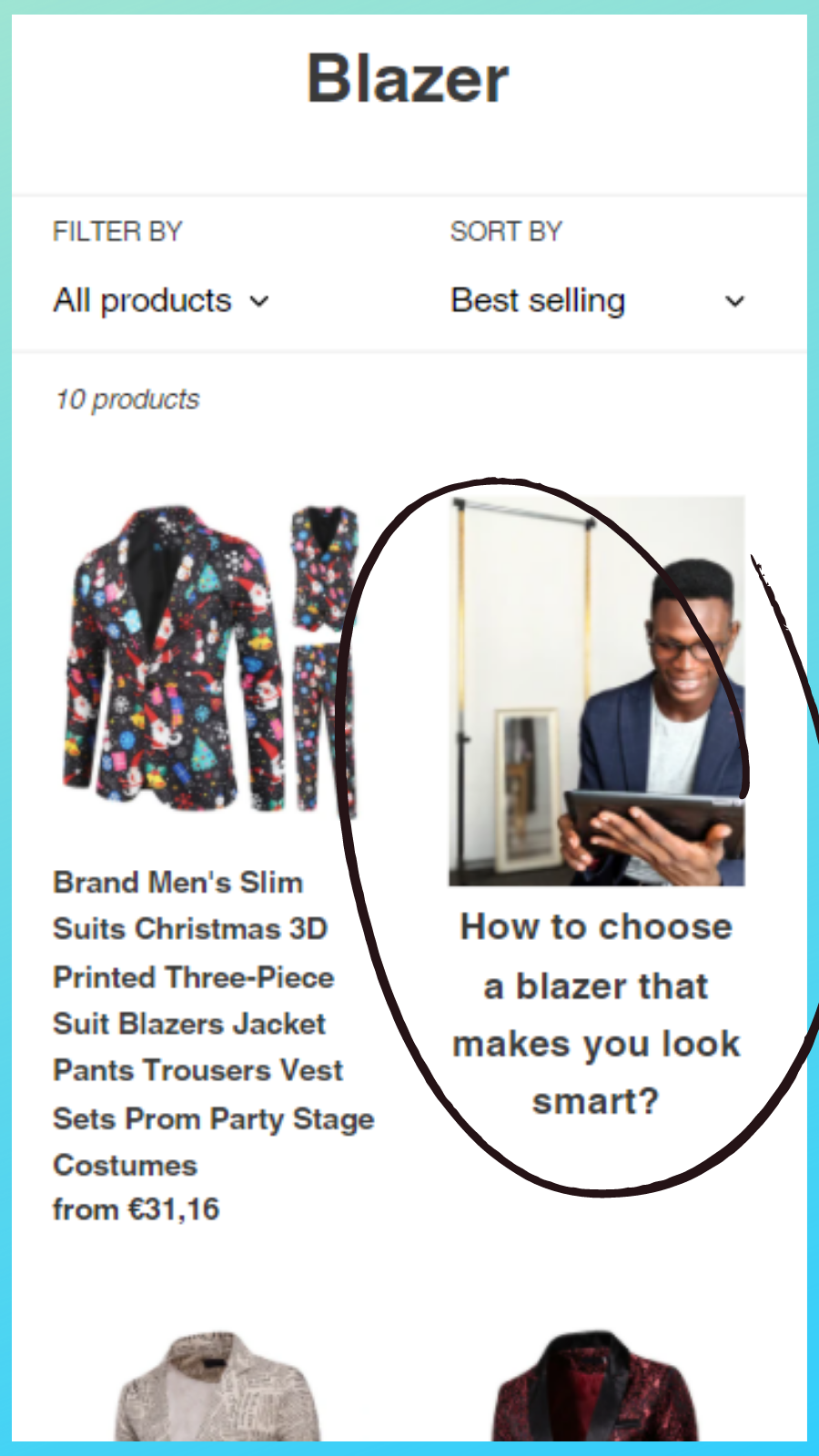 Blog articles in collection with image, mobile version example 1
