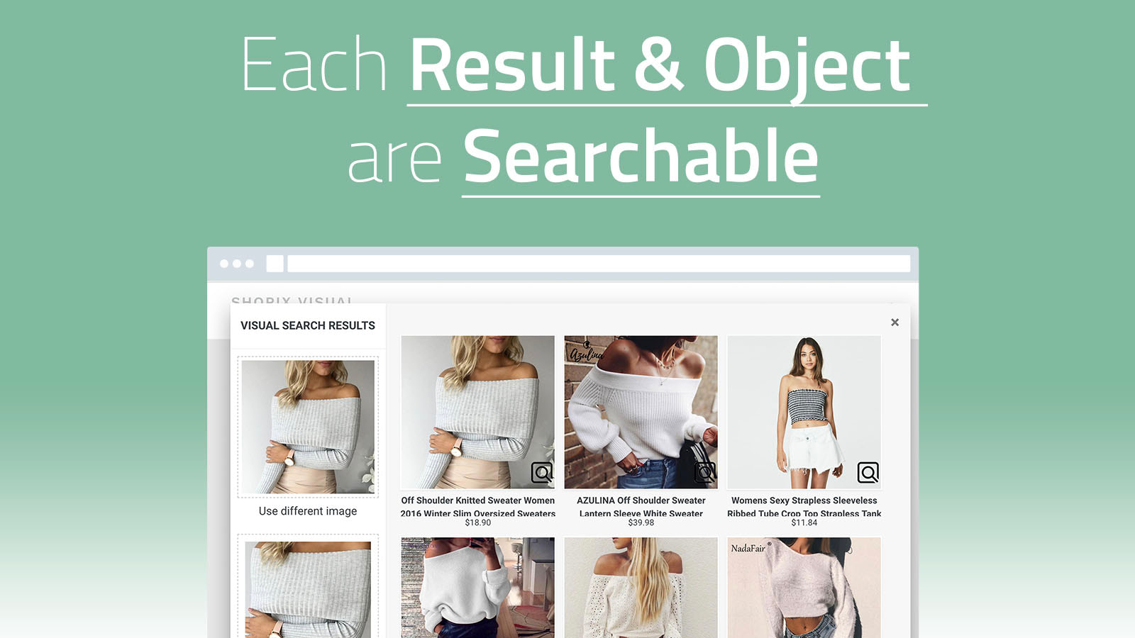 Visual search results with searchable result items & objects