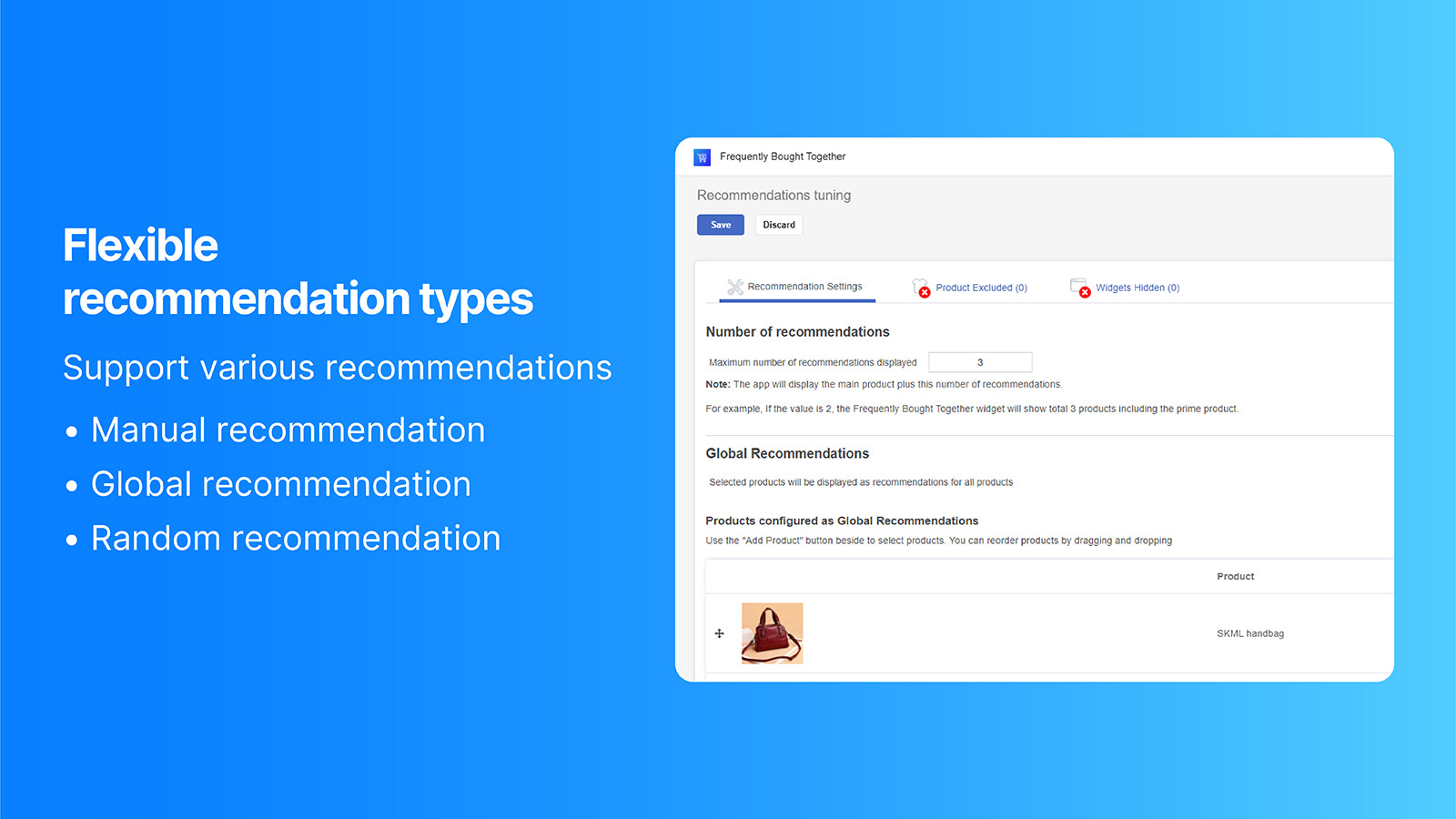 Configure different product recommendation types