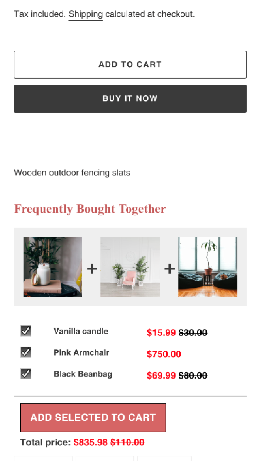 Frequently Bought Together mobile responsive