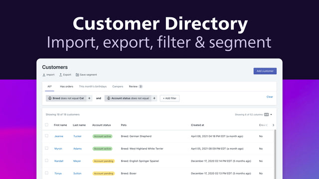 Import and export, segment customers and build customer profiles