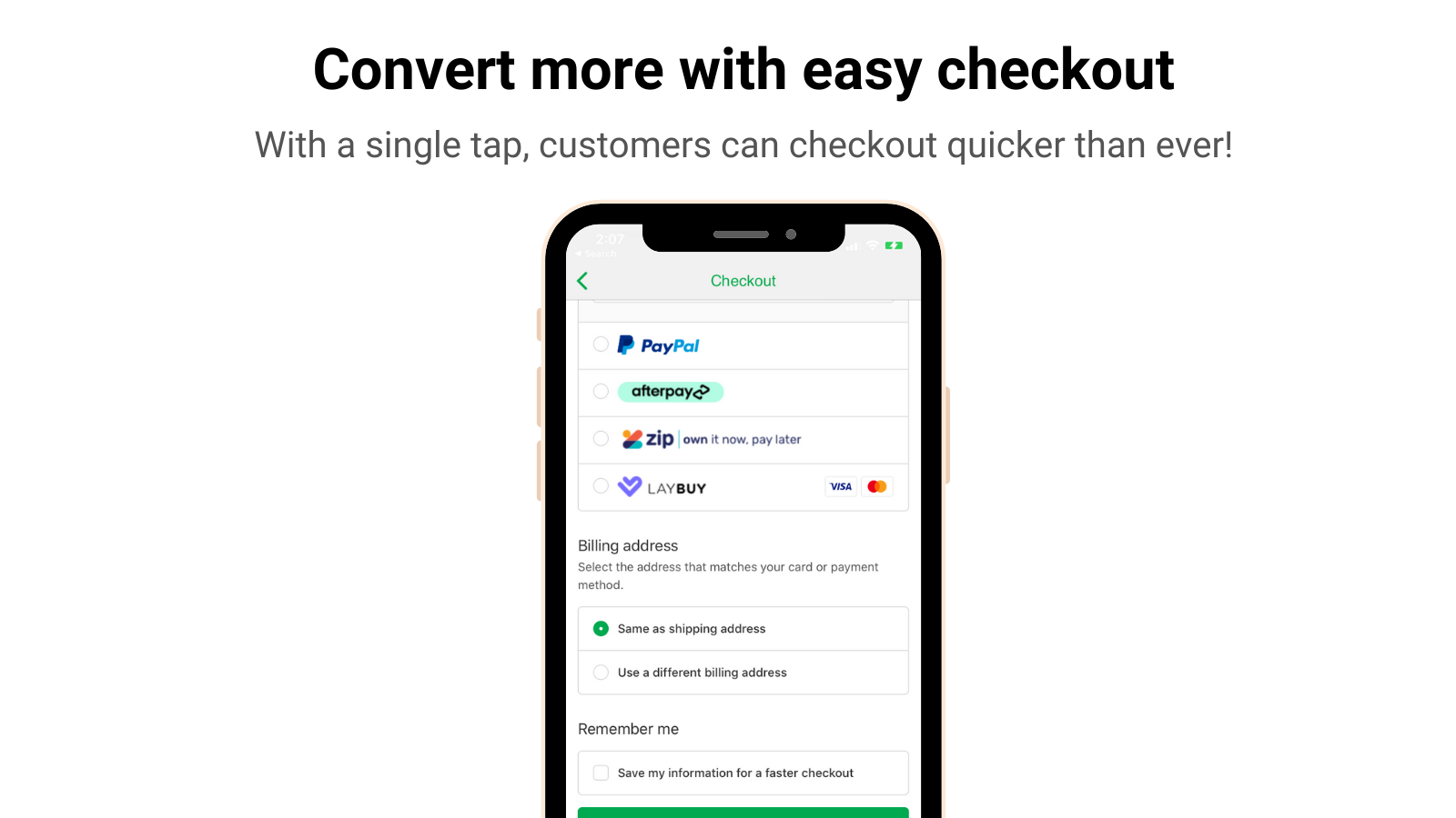 Convert more with easy checkout