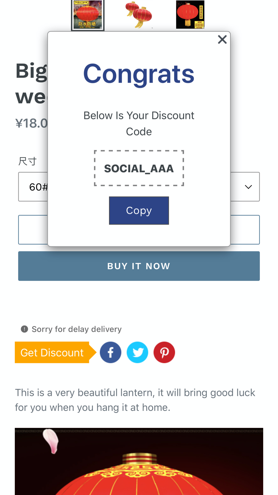 Show discount in mobile - Yean