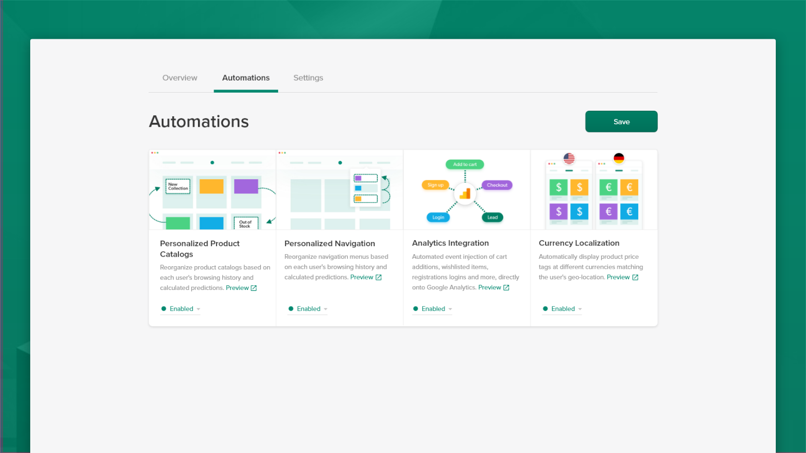 Enable twik and personalization automations in your shop.